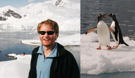 Richard in Antarctica with penguins